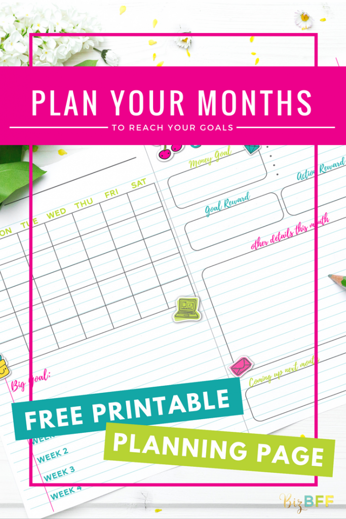 Free Printable Monthly Planning Page from Biz BFF